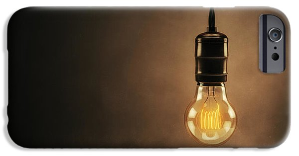 Bulb iPhone Cases - Vintage Bright Idea iPhone Case by Scott Norris