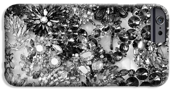 Florals Jewelry iPhone Cases - Vintage Brooches Black and White II iPhone Case by Peggy Davis