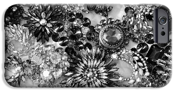 Vintage Jewelry iPhone Cases - Vintage Brooches Black and White II iPhone Case by Peggy Davis