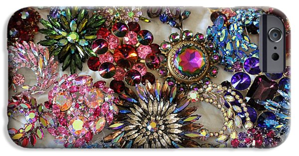 Florals Jewelry iPhone Cases - Vintage Brooches iPhone Case by Peggy Davis
