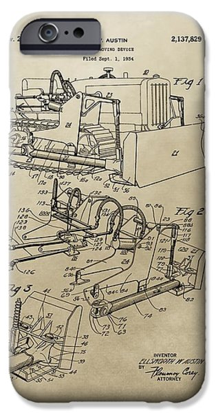 Construction Equipment iPhone Cases - Vintage Bulldozer Patent iPhone Case by Dan Sproul