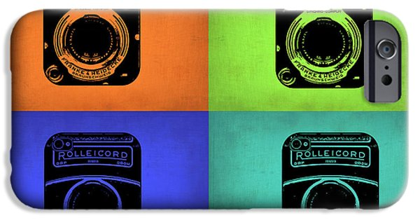 Camera iPhone Cases - Vintage Camera Pop Art 1 iPhone Case by Naxart Studio