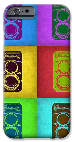Camera iPhone Cases - Vintage Camera Pop Art 2 iPhone Case by Naxart Studio