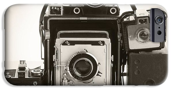 Brownie iPhone Cases - Vintage Cameras iPhone Case by Edward Fielding