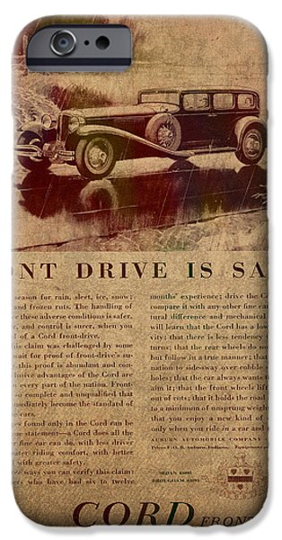 Posters On Mixed Media iPhone Cases - Vintage Car Advertisement 1930 Cord Front Drive Ad Poster on Worn Faded Paper iPhone Case by Design Turnpike