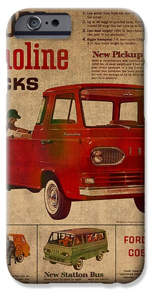 Posters On Mixed Media iPhone Cases - Vintage Car Advertisement 1961 Ford Econoline Truck Ad Poster on Worn Faded Paper iPhone Case by Design Turnpike