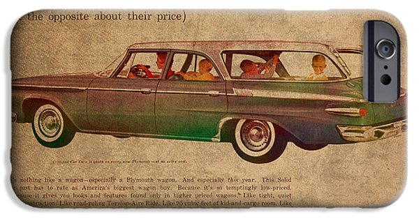 Posters On Mixed Media iPhone Cases - Vintage Car Advertisement 1961 Plymouth Wagon Ad Poster on Worn Faded Paper iPhone Case by Design Turnpike