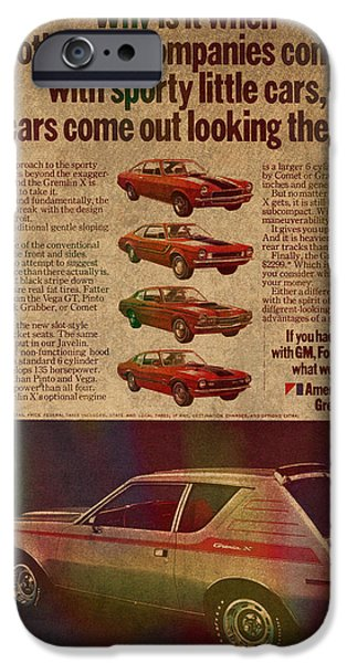 Posters On Mixed Media iPhone Cases - Vintage Car Advertisement American Motors Gremlin Ad Poster on Worn Faded Paper iPhone Case by Design Turnpike