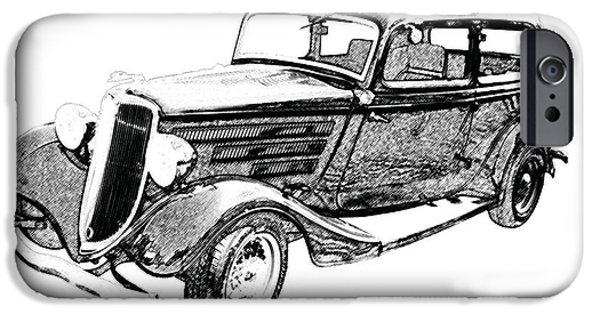 Ford iPhone Cases - Vintage Car Art Ford-BW PENCIL SKETCH iPhone Case by Lesa Fine