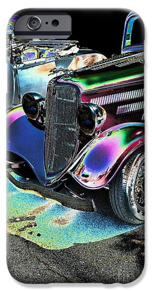 Ford iPhone Cases - Vintage Ford Car Art Nbr 182 Neon iPhone Case by Lesa Fine