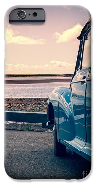 Low Tide iPhone Cases - Vintage Car at the beach  iPhone Case by Edward Fielding