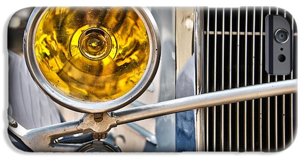 Old Cars iPhone Cases - Vintage car light iPhone Case by Delphimages Photo Creations