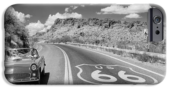Yellow Images iPhone Cases - Vintage Car Moving On The Road, Route iPhone Case by Panoramic Images