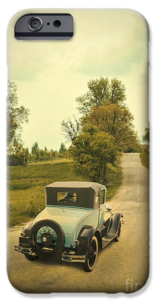 Old Country Roads Photographs iPhone Cases - Vintage Car on a Rural Road iPhone Case by Jill Battaglia