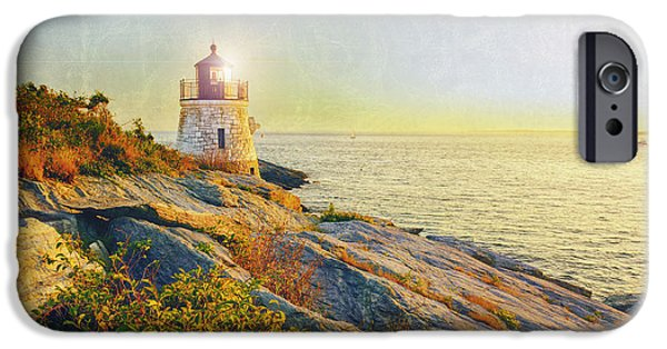 New England Lighthouse iPhone Cases - Vintage Castle Hill Light iPhone Case by Marianne Campolongo