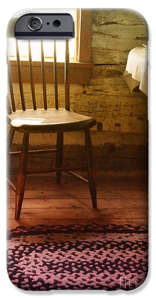 Cabin Window iPhone Cases - Vintage Chair and Table iPhone Case by Jill Battaglia