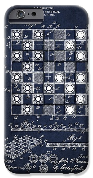 Strategy iPhone Cases - Vintage Checker and Chess Board Drawing from 1921 iPhone Case by Aged Pixel