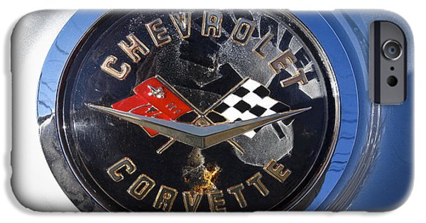 Old Digital Art iPhone Cases - Vintage Chevrolet Corvette Logo iPhone Case by Melissa Messick