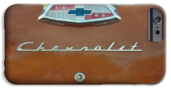 Burnt Umber iPhone Cases - Vintage Chevrolet Emblem On Trunk iPhone Case by Cat Whipple