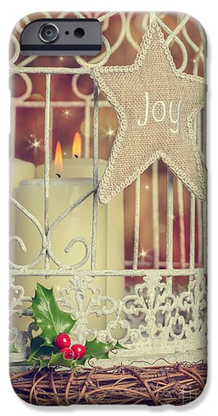 Christmas Eve iPhone Cases - Vintage Christmas Candles iPhone Case by Amanda And Christopher Elwell