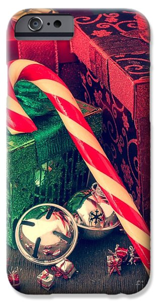 Cards Vintage iPhone Cases - Vintage Christmas Candy Cane iPhone Case by Edward Fielding
