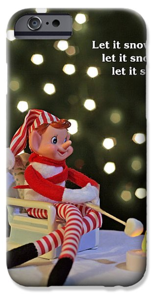 Vintage Christmas Elf Toasting a Marshmallow iPhone Case by Barbara West