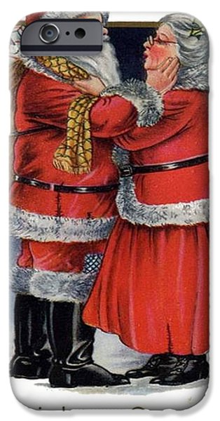 Women Together Mixed Media iPhone Cases - Vintage Christmas Greetings from Mr and Mrs Claus iPhone Case by Tracey Harrington-Simpson