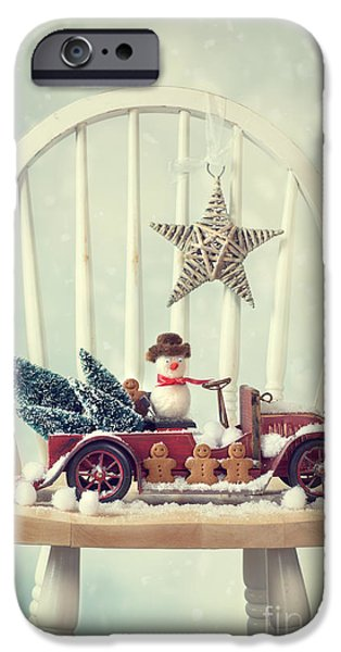 Snow Scene iPhone Cases - Vintage Christmas Truck iPhone Case by Amanda And Christopher Elwell