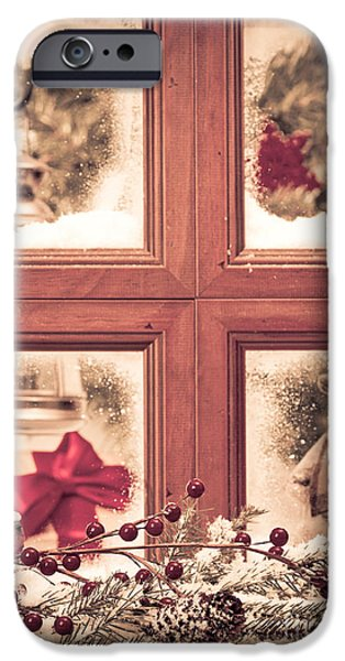 Snowy Scene iPhone Cases - Vintage Christmas Window iPhone Case by Amanda And Christopher Elwell