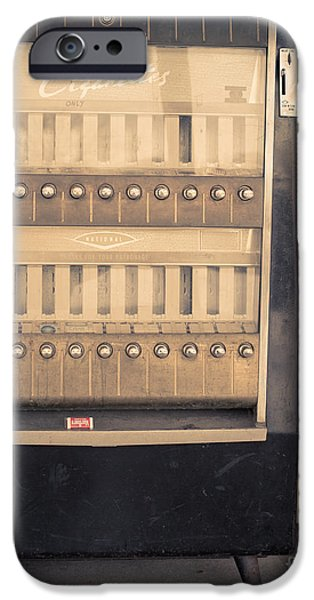 Op iPhone Cases - Vintage Cigarette Machine iPhone Case by Edward Fielding
