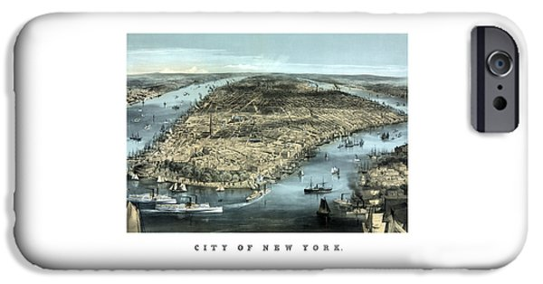 River Mixed Media iPhone Cases - Vintage City Of New York iPhone Case by War Is Hell Store