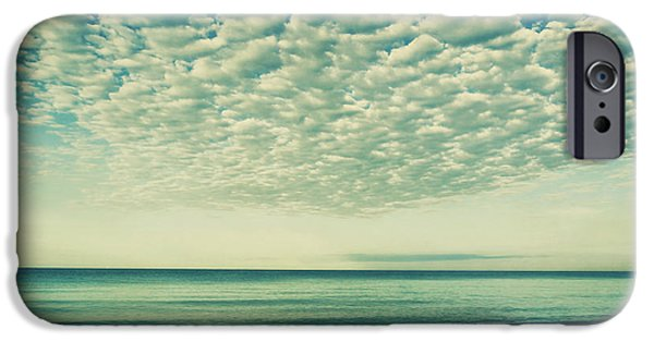 Reflections Of Sky In Water iPhone Cases - Vintage Clouds iPhone Case by Kim Hojnacki