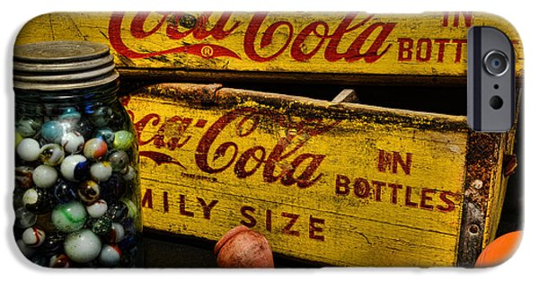 Wooden Crate iPhone Cases - Vintage Coca Cola and Toys iPhone Case by Paul Ward