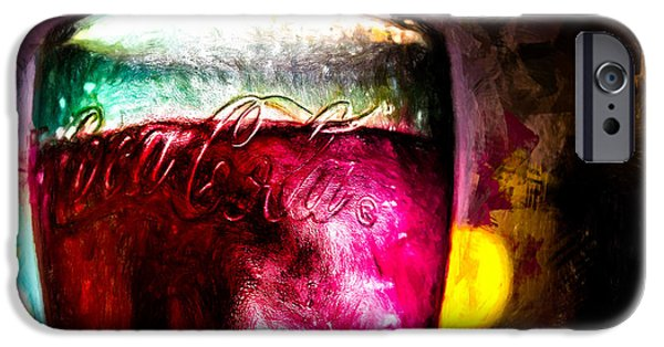 Collectible Mixed Media iPhone Cases - Vintage Coca Cola Glass With Ice iPhone Case by Bob Orsillo