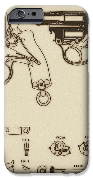 Vintage Colt Revolver Drawing iPhone Case by Nenad  Cerovic
