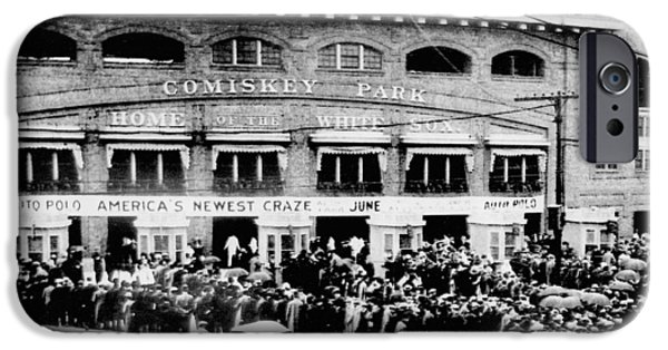Historical iPhone Cases - Vintage Comiskey Park - Historical Chicago White Sox Black White Picture iPhone Case by Horsch Gallery