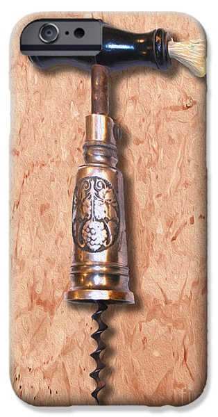 Antiques Mixed Media iPhone Cases - German Perpetual Barrel Corkscrew Painting iPhone Case by Jon Neidert