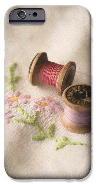 Antiques iPhone Cases - Vintage Cotton Reels iPhone Case by Jan Bickerton