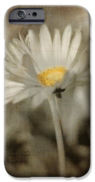 Rust Pyrography iPhone Cases - Vintage Daisy iPhone Case by Joann Vitali