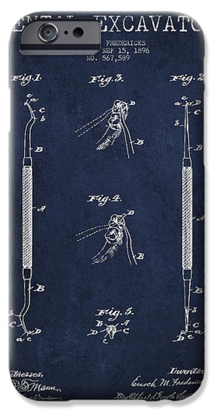 Device iPhone Cases - Vintage Dental Excavator Patent Drawing From 1896 - Navy Blue iPhone Case by Aged Pixel