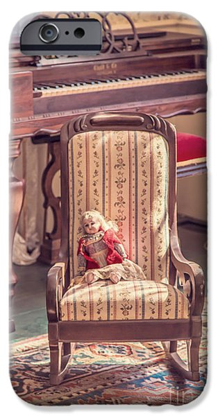 Piano iPhone Cases - Vintage doll in parlor iPhone Case by Edward Fielding