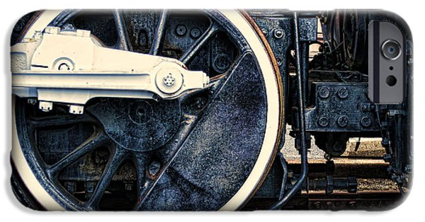 Railway Locomotive iPhone Cases - Vintage Drive Wheel iPhone Case by Olivier Le Queinec