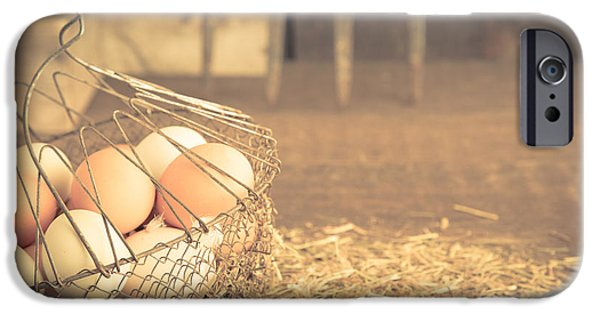 Agricultural iPhone Cases - Vintage eggs in wire basket iPhone Case by Edward Fielding