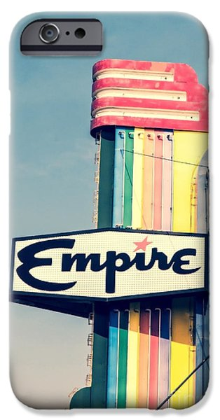 Retro Art iPhone Cases - Vintage Empire Theater Sign iPhone Case by Edward Fielding