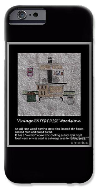 Enterprise Drawings iPhone Cases - Vintage ENTERPRISE Woodstove iPhone Case by Barbara Griffin