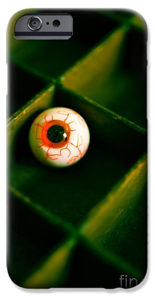 Creepy iPhone Cases - Vintage fake eyeball iPhone Case by Edward Fielding