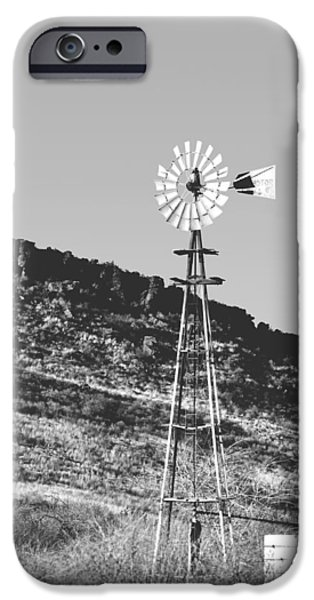 Windmills iPhone Cases - Vintage Farm Windmill iPhone Case by Christine Till