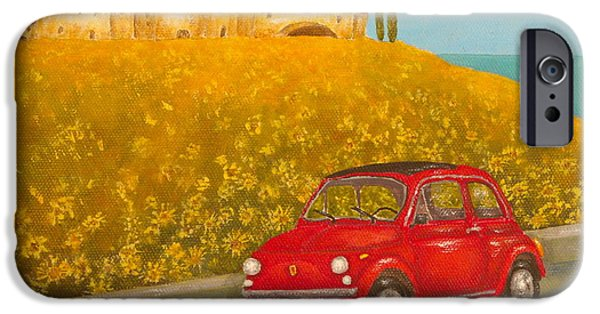 Tuscan Landscapes iPhone Cases - Vintage Fiat 500 iPhone Case by Pamela Allegretto
