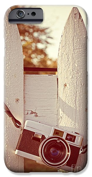 New England Autumn iPhone Cases - Vintage film camera on picket fence iPhone Case by Edward Fielding