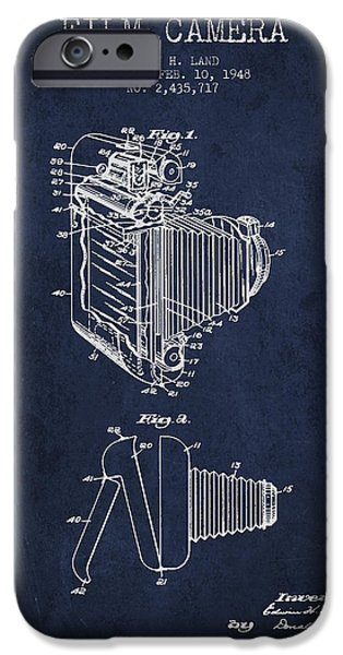 Camera iPhone Cases - Vintage film camera patent from 1948 iPhone Case by Aged Pixel